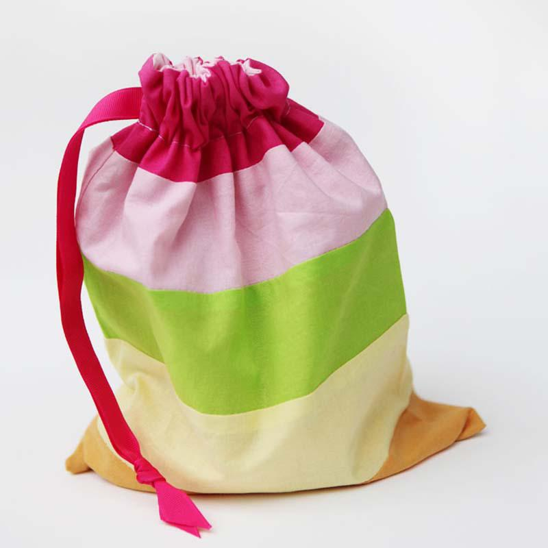 Striped fabric gift bags
