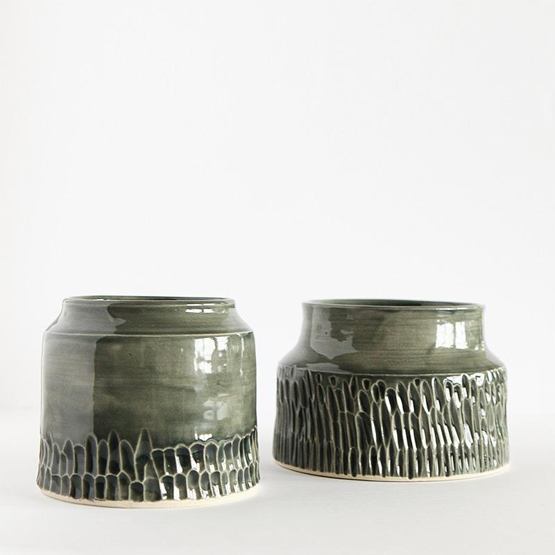 Gray carved cylinder vases