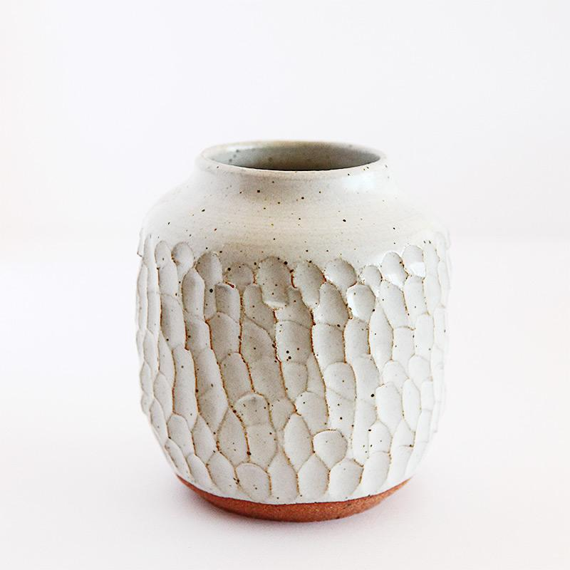 Carved speckeled matte white vase - reduction fired